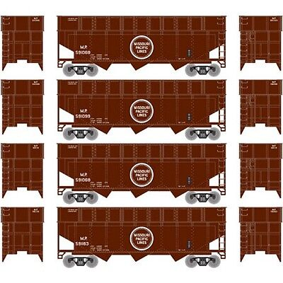 Athearn ATH6596 N 40' Wood Chip Hopper w/ Load Pack MP #2 (4) Rolling Stock