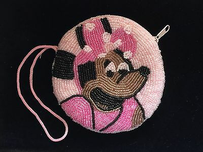 Disney Minnie Mouse Double Sided Pink Beaded Coin Wallet / Make Up Bag Purse