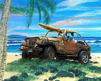 Jeep Wrangler Art Print Poster Picture ~ Surfing beach with palm trees
