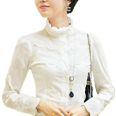 Summer Fashion Office Lace Blouse Long Sleeve Shirt Womens Victorian Top Size