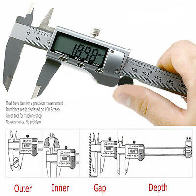 """Electronic Digital Stainless Steel Vernier Caliper Micrometer Guage LCD 6"""" 150mm"""