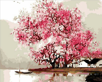 "16x20"" DIY Paint By Number  Kit Oil Painting On Canvas Flower Tree"