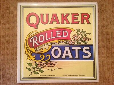 "1984 QUAKER ROLLED OATS Porcelain Tile Trivet Hotplate 5 7/8"" Square Exc"