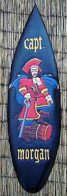 """Hand Crafted Wood """"Captain Morgan""""  Surfboard Wall Sign Pirate Decor"""
