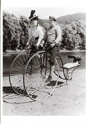 Sociable Couple Woman Twin Tandem Bicycle Postcard 1910 Photo Repro Baby Carrier