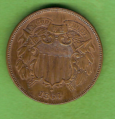 1864  Usa Two  Cent Coin