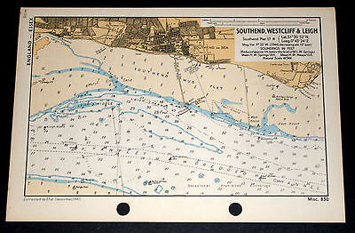 COASTAL DEFENCE of SOUTHEND, WESTCLIFF & LEIGH, Essex - WW2 Naval Map 1943