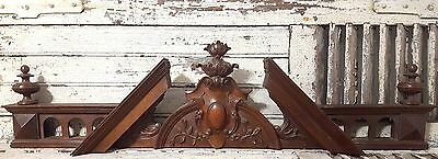 Huge Architectural Pediment Chateau Antique French Carved Wood Salvaged Crest