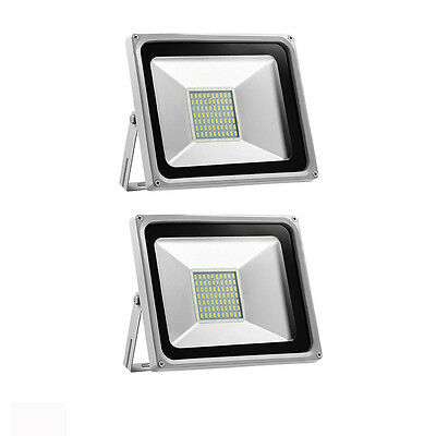 2x 50W SMD LED Flood Light Cool White Outdoor Security Garden Light Lamp