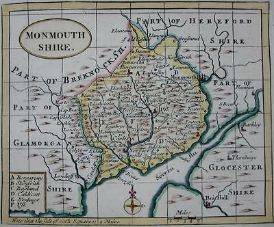 MONMOUTHSHIRE  BY JOHN SELLER AND FRANCIS GROSE GENUINE ANTIQUE MAP  c1787