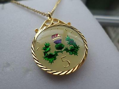 Vintage Enamelled Five Pence Coin Pendant & Necklace. Christmas / Birthday Gift