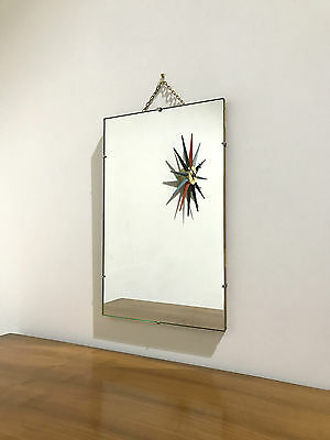 60'S Small Unframed Wall Mirror With Chain
