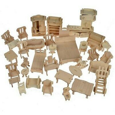 1set 34pcs DIY Wooden Doll House Dollhouse Furniture 3d Simulation Miniature Set