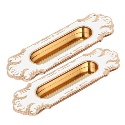 96mm Hole Spacing Metal Antique Style Flush Pull Handle Gold Tone White 2pcs
