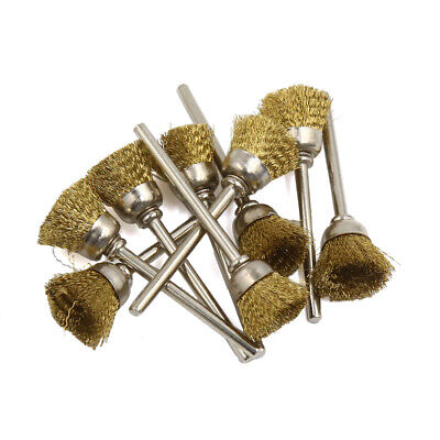 10 Pcs Gold Tone 15mm Diameter Bowl Shaped Crimped Copper Wire Polishing Brushes