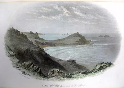 CAPE CORNWALL  GENUINE ANTIQUE STEEL ENGRAVING WITH HAND COLOUR c1832