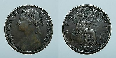 GREAT BRITAIN : QUEEN VICTORIA PENNY 1876 H - Good Detail