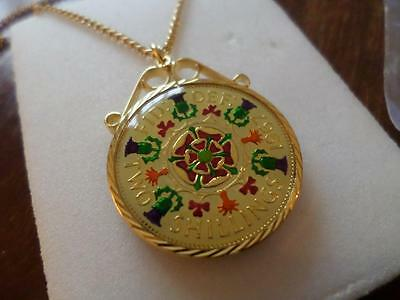 Vintage Enamelled Two Shilling Coin 1967 Pendant & Necklace. 50Th Birthday Gift