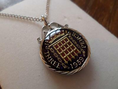 Vintage Enamelled Threepence Coin 1959 Pendant & Necklace. Birthday Present