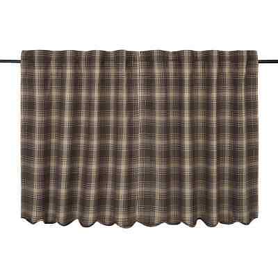 DAWSON STAR Scalloped Tier Set Lined Brown/Khaki Plaid Country Lodge Rustic 36""