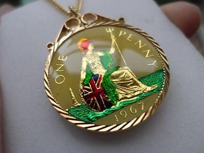 Vintage Enamelled One Penny Coin 1967 Pendant & Necklace. 50Th Birthday Present
