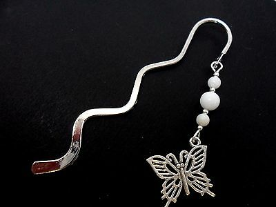 A Tibetan Silver  Butterfly Charm White Jade Beads Bookmark. New.
