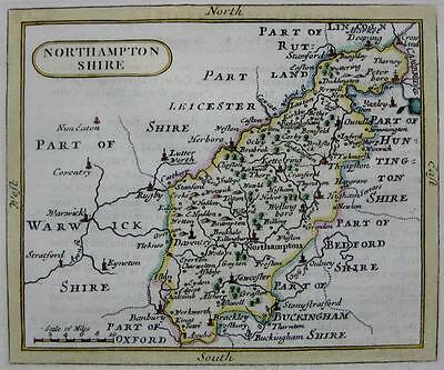 NORTHAMPTONSHIRE   BY JOHN SELLER AND FRANCIS GROSE GENUINE ANTIQUE MAP  c1787