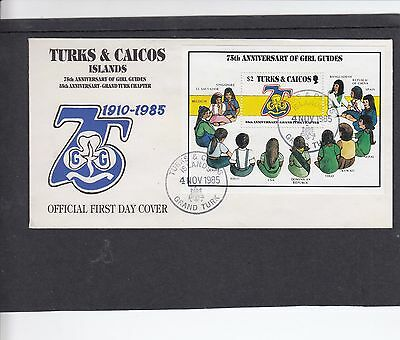 Turks & Caicos 1985 Girl Guides MS First Day Cover FDC Grand Turk h/s
