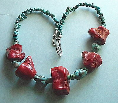 Attractive Necklace of 5 Big Red Coral Blocks 4 Turquoise Stones 20inch 88g 17-1