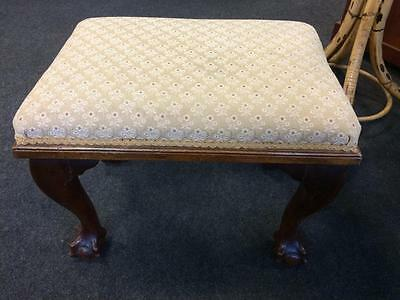 Antique Vintage Floral Patterned Stitched Stool With Mahogany Ball And Claw Feet