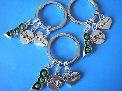 Sister Keyrings Pea Pod Pinky Promise Big Middle Little Sisters 3 x Keychains