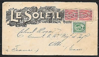 Canada covers 1911 Firmcover Quebec to Albi