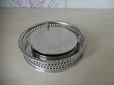 VINTAGE VINERS Alpha Plate Chased Silver Plated Coasters & Bottle Stand VGC!