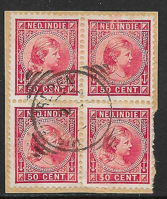 Netherlands Indies stamps 1892 NVPH 29 Bloc of 4 on fragment  CANC  VF