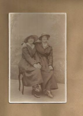 Social History Postcard - Edwardian Era - Two Young Women Seated