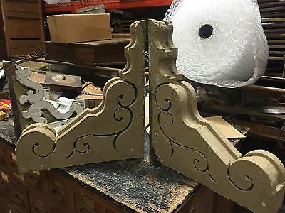 "c1882 PAIR antique large VICTORIAN gingerbread CORBEL brackets 20"" x 17.5"" x 4"""