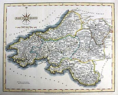 SOUTH WALES  CARDIFF SWANSEA  BY JOHN CARY GENUINE ANTIQUE MAP  c1793
