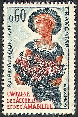 France 1965 Friendship Campaign/Flowers/Girl/Bouquet/Nature/People 1v (n42472)