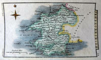 WALES  PEMBROKESHIRE  BY SIDNEY HALL HAND COLOUR GENUINE ANTIQUE MAP  c1826