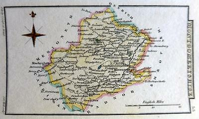 WALES MONTGOMERYSHIRE  BY SIDNEY HALL HAND COLOUR GENUINE ANTIQUE MAP  c1826