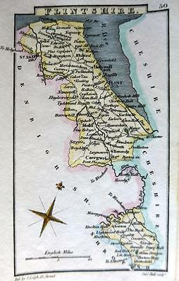 WALES  FLINTSHIRE  BY SIDNEY HALL HAND COLOUR GENUINE ANTIQUE MAP  c1826