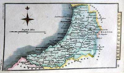 WALES  CARDIGANSHIRE  BY SIDNEY HALL HAND COLOUR GENUINE ANTIQUE MAP  c1826