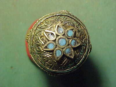 Near Eastern hand crafted  ring, turquoise inserts circa 1700-1900