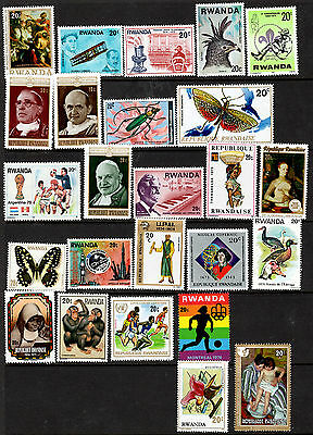 Rwanda Small Collection of 25 Mint Pictorial Stamps