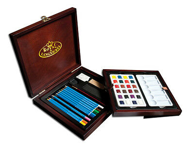 Artist Watercolour Sketching Drawing & Painting Set Brush & Wooden Case Wpen1600