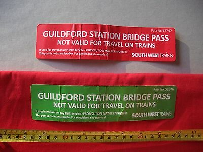 2 x South West Trains Guildford Station Bridge Pass Tickets - Rare Unusual