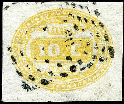 1863 - ITALY - 10c YELLOW POSTAGE DUE, USED