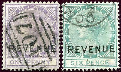 1879/88 - DOMINICA - 1d LILAC & 6d GREEN POSTAL FISCAL, USED