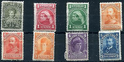 1897/1918 - NEWFOUNDLAND - ROYALTY SET OF 8, MINT - 4c MNG
