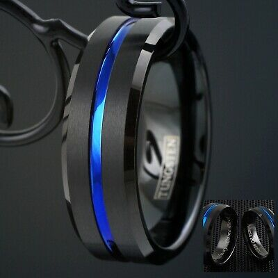 Black Tungsten Brushed Thin Blue Line Police Band Ring - Engravable